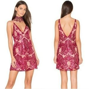 Free People Night Shimmer Pink Sequin Mini Dress